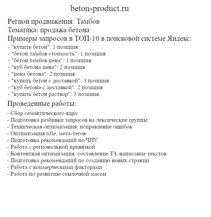 Описание проекта beton-product.ru